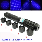 1000mw Blue Laser Pointer 450nm Strong Powerful Burn Matches Cigarettes Papers With Five Star Caps