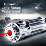 650nm Red Beam Mini Gatling Gun Laser Pointer 500mW Foucs Adjustable Burning Flashlight 13 in 1