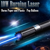 10000mw 445nm Blue Burning Laser Pointer Pen Visible Beam Light Burns Plastic and Pop Balloon Class 4 For Sale