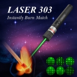 300mW 303 Green Laser Pointer 532nm Visible Beam Light Burns Match with 5 Patterns Caps For Astronomy