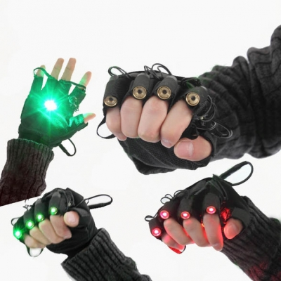 4pcs Fingers Green Laser Gloves with LED Palm Light For DJ Party /Club / Stage Laser Show