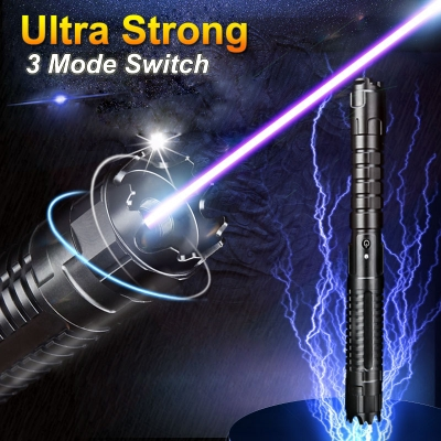 Self-defense Laser Pointer 30000mW 445nm Blue Beam Ultra Powerful 3 Modes 5in1 Lasers Flashlight
